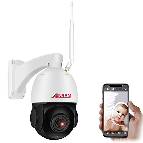 【20X Zoom】 1080P PTZ Cámara de Seguridad WiFi Interior Exterior Óptico de Alta Velocidad, ANRAN Cámara Domo con Tarjeta SD de 32GB, Audio Bidireccional, Visión Nocturna, Detección de Movimiento