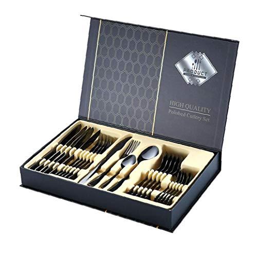 Bestick set rostfritt stål bestickset servis gaffel sked för att äta redskap 24 st svart