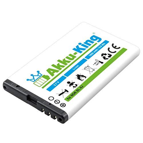 Akku-King Akku kompatibel mit Nokia BL-5J - Li-Ion 1600mAh - für Lumia 520 521 530, 5800 XpressMusic, 5230, C3-00, N900, X6-00, Asha 200, 201, 302
