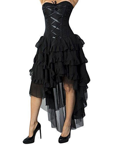 Burleska Damen Korsett Kleid - Beverly Chiffon Schwarz Midi Dress 40