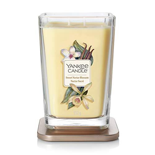 Collezione Yankee Candle Elevation con Coperchio della Piattaforma Grande Candela Quadrata a 2 Stoppini, Sweet Nectar Blossom