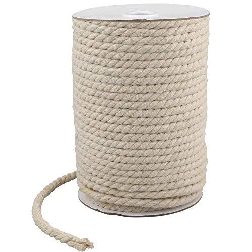 KINGLAKE Cuerda de algodón blanco de 20 m, 6 mm, cuerda gruesa...