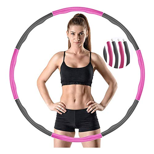 Weighted Hula Adult Hoops, Weighted Hoola for Adults Weight Loss 2lb, Weighted Exercise Hoop for Adults and Home Workout Adjustable Fitness Hoop (Detachable / 8 Sections)