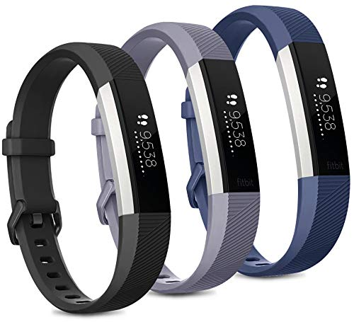 Pack 3 Replacement Band Compatible for Fitbit Alta Bands/Fitbit Alta HR Bands, Adjustable Replacement Soft Silicone Sport Bands for Woman and Men (Large, Black+Grey+Navy Blue)