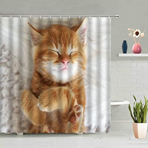 Cortina de la duchaLindo gato León sombra cortinas de ducha animales de dibujos animados mascotas cielo estrellado gatito decoración de...