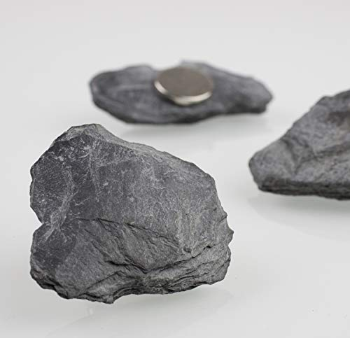 Starke Schiefermagnete Neodym für Magnettafeln, Whiteboards und Kühlschränke (Steinmagnet Schiefer in Graphit-Schwarz, 4)