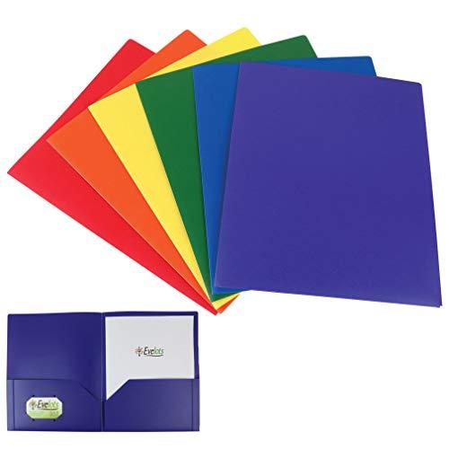 Evelots 2 Pocket Folders-Heavy Duty Plastic-Business Card Slot-Flexible-Set/6