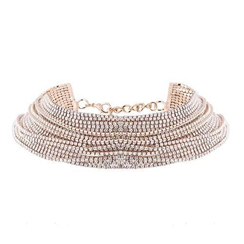 WWJJTT Sexy Rhinestone Cadena de Cuello de múltiples Capas Mujer Novia Collar de joyería Collar Compromiso Compromiso propuesta Collar-Plata