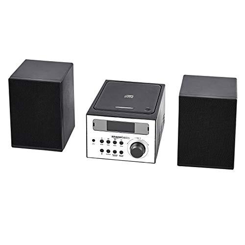 Amazon Basics - Minisistema de audio de alta fidelidad, con radio FM y entrada auxiliar, negro
