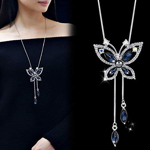 LHXMY Glamouröse Damen Halskette Und Anhänger Silber Kristall Bestickte Halskette Weiblichen Pullover Kette Schmuck, Styls 4 Blau