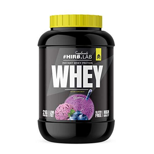 Hiro.Lab Instant Whey Protein 2000g - Concentrado de proteína de suero en polvo - Batido para masa muscular - Sin gluten - Bajo en grasas (Arándano)