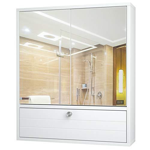 DYecHenG Armario de Baño Gabinete de baño Doble Espejo Puerta Montaje en Pared Estante de Madera Blanco para Dormitorio de Apartamento (Color : White, Size : 21.5x5.5x24.5 Inches)