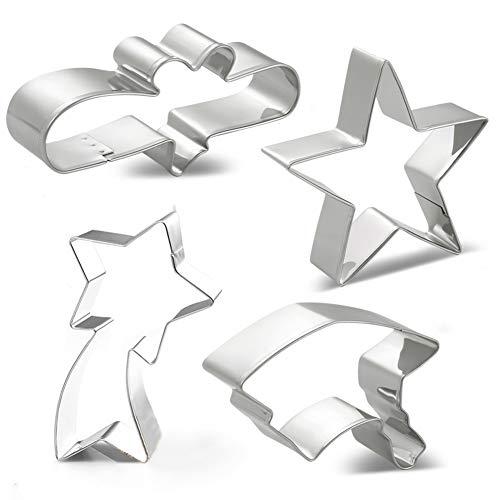 Graduation Cookie Cutter Set - 4 Piece - Graduation Cap, Diploma, Star, Shooting Star - Stainless Steel