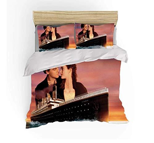 QGHZSCS Juego de Funda nórdica Jack and Rose Titanic Classic Love Juego de Cama de Microfibra Decorativo de 3 Piezas , con Cremallera, 2 Fundas de Almohada Tamaño: 220x240 Cm