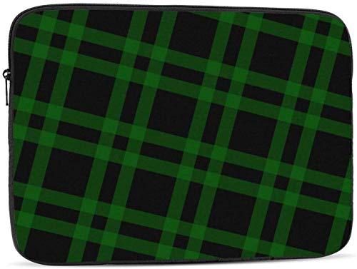 Black Green Plaid Pattern Laptop Sleeve Bag - Evecase 15 Inch Neoprene Universal Sleeve Zipper Sleeve Cover Case for Notebook