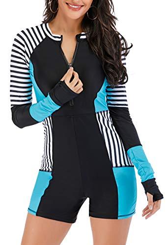 Runtlly Women's Long Sleeve Rash Guard UPF 50+ Sun Protection Wetsuit Swimsuit 8891 L
