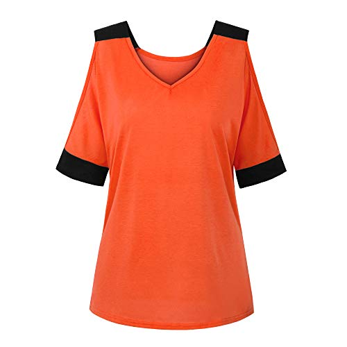 Buy Bargain Leepus Women Summer Spliced T-Shirt Off Shoulder V Neck Half Sleeve Loose Casual Plus Si...