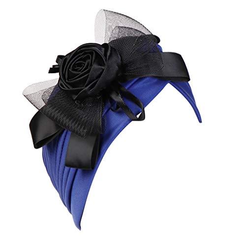 Zegeey Damen Muslimische Hut Hat Turban Hut MüTze Blumen Feder Accessories Mittlerer Osten Islam Moschee Tanzparty Cap(B2-Blau,Einheitsgröße)