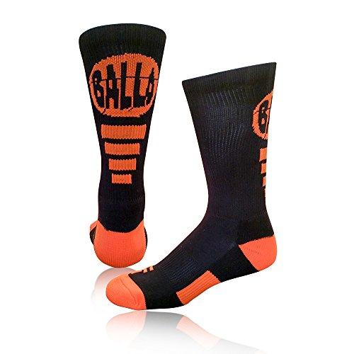 Schoolin 'u Calcetines Athletic Calcetines de Baloncesto, Balla(Black/Orange)