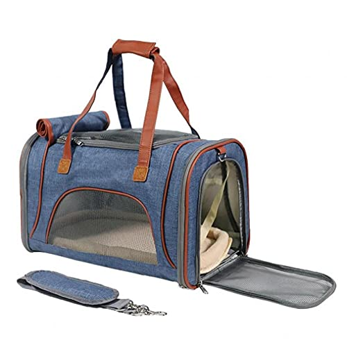 Naisicatar Pet Travel Carrier Airline Aprobado Pet Port Port Pear Side Side Sido COLLAPible para Cachorros medianos y Gatos Azules