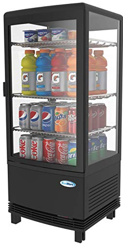 KoolMore Countertop Refrigerator Display Case Commercial Beverage Cooler with LED Lighting - 3 cu. ft Capacity, Black (CDCU-3C-BK)