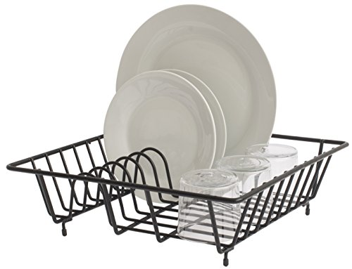 simplywire - Compact Dish Drainer - Plate Drying Rack - Black