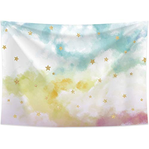 Allenjoy 7x5ft Photography backdrops Watercolor Colorful White Cloud Sky Golden Glitter Stars Birthday Party Banner Photo Studio Booth Background Newborn Baby Shower photocall