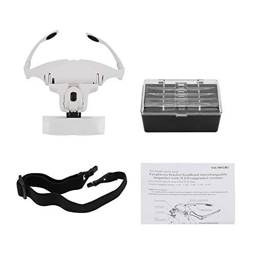 Dekaim Lupa con Soporte para anteojos Manos Libres Diadema de 5 Lentes con 2 Luces LED para la Cabeza