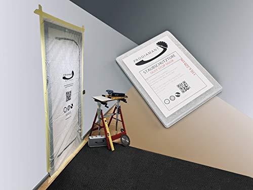 PRODIAMANT Staubschutztür aus staubdichtem Polypropylen-Vlies (PP) Staubschutz, Bautür, 1,10 x 2,20 m für Renovierungen