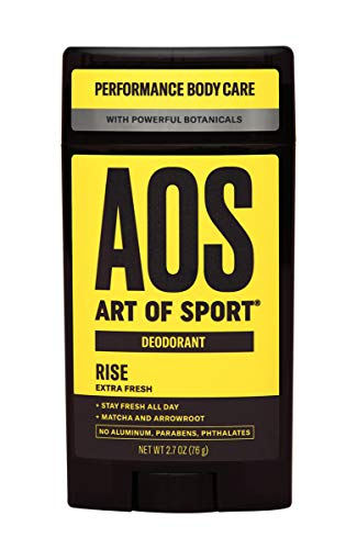 Art of Sport Men's Deodorant - Rise Scent - Aluminum Free Deodorant for Men with Natural Botanicals Matcha and Arrowroot - High Performance Formula for Athletes - Goes on Clear - 2.7oz