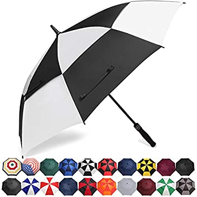 BAGAIL Golf Umbrella 68/62/58 Inch Large Oversize Double Canopy Vented Automatic Open Stick Umbrellas for Men and Women(Black/White,62 inch)