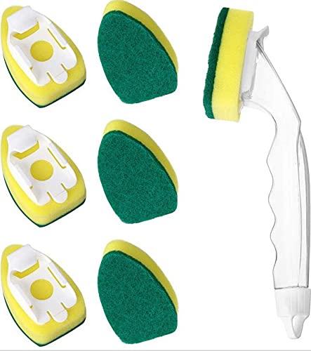 Cepillo de esponja de limpieza de cocina con mango Palillo para lavavajillas Brus 6 cabezales de repuesto reutilizables para suministros de limpieza de cocina