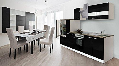 respekta inbouw keuken kitchenette 300 cm wit front zwart keramische & schuine kap