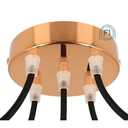 Flairlux All-in-One Baldachin für Lampe 5 Loch Metall kupfer rund 120x25mm inkl Wago Klemmen, Klemmnippel konisch