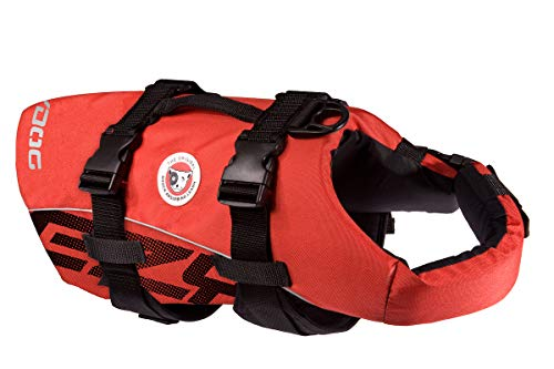EzyDog Premium Doggy Flotation Device (DFD) - Adjustable Dog Life Jacket Preserver with Reflective Trim - Durable Grab Handle for Safety and Protection - 50% More Flotation Material (Large, Red)
