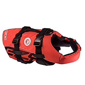 EzyDog Premium Doggy Flotation Device (DFD) – Adjustable Dog Life Jacket Preserver with Reflective Trim – Durable Grab Handle for Safety and Protection – 50% More Flotation Material (Large, Red)