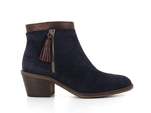 Schmoove Boots Stellar Neptune Zip Cuir Bleu Femme