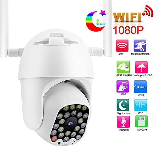 ONVIF Outdoor-bewakingscamera, HD 1080P dome, draadloze wifi, home IP-camera, tweewegs-intercominstallatie, IP65 waterdicht, nachtzicht, bewegingsdetectie, TF-kaart 64G voor app., wit