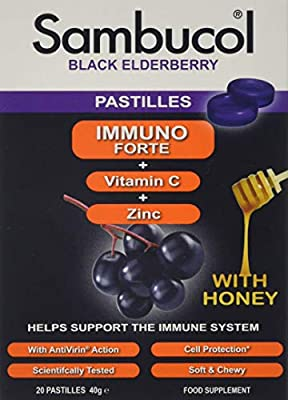 Sambucol Natural Black Elderberry Immuno Forte Chewable Pastilles with Vitamin C, Zinc, soothing Honey Lozenges, Immune System Booster, Cold & Flu Remedy for the family - 20 Pastilles