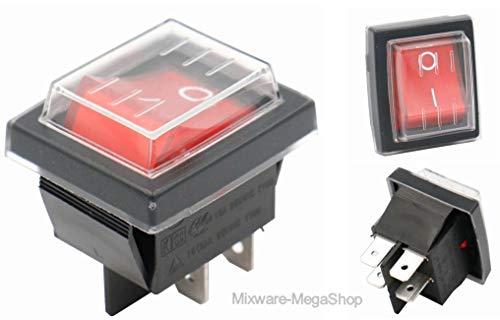 Wippschalter mit Wasserdichte Abdeckung 2pol (4 Pin) EIN-AUS 250V 16A beleuchtet (2)