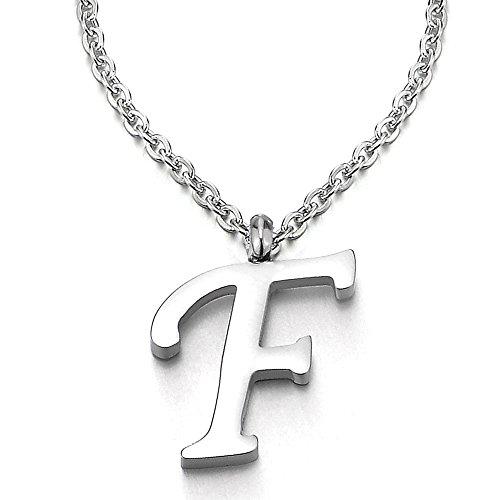 COOLSTEELANDBEYOND Name Initiale Alphabet Buchstaben A bis Z Anhänger Edelstah Halskette für Damen Herren mit 50cm Stahl Seil-Kette - F