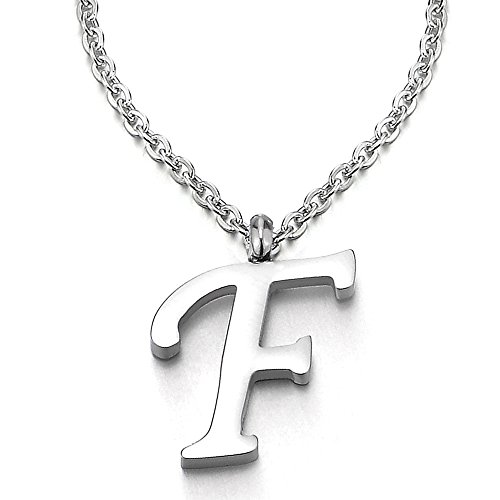 COOLSTEELANDBEYOND Nome Iniziale Lettera di Alfabeto F Ciondolo, Collana con Pendente Croce da Donna Uomo, Acciaio, 50cm Corda Catena