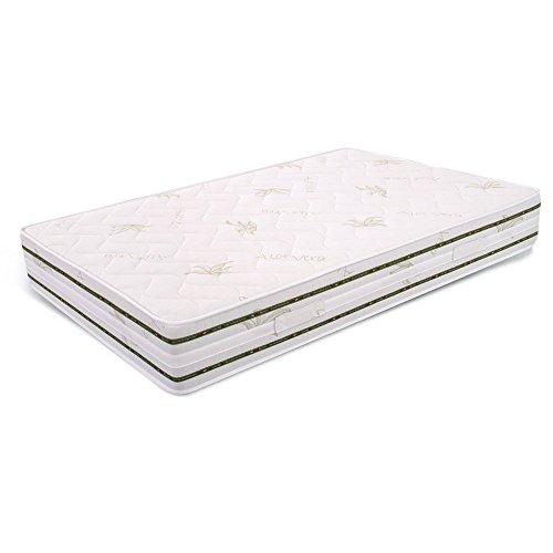 Ailime Memoria de Forma Colchón ortopédico para una Cama Individual y un Medio de Aloe Vera Blanco 120 x 200 x 25 cm