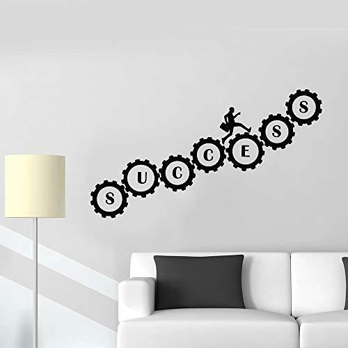 Engranajes Palabras Tatuajes de pared Hombre Trabajo Inspirado Éxito Equipo Oficina Negocio Estudio Decoración de interiores Vinilo Pegatina Mural 42x74 cm
