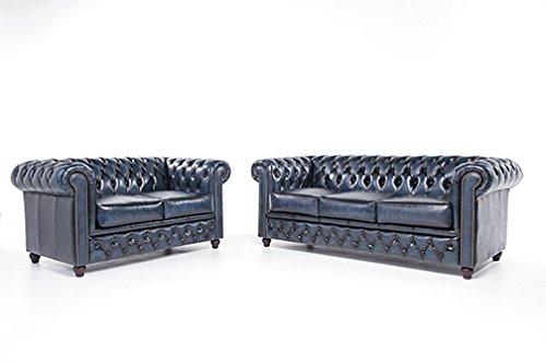 Original Chesterfield Sofas - 2/3 Sitzer - Vollständig Handgewaschenes Leder – Antik Blau