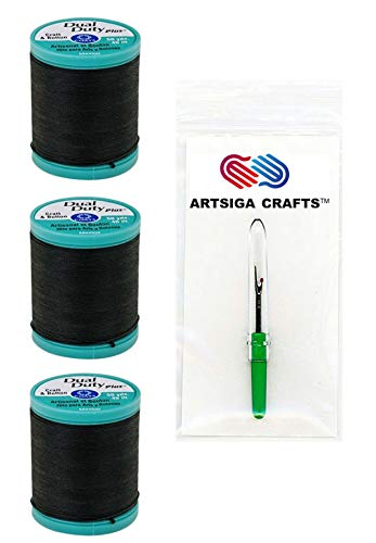 Coats & Clark Sewing Thread Dual Duty Plus Button & Carpet Cotton Thread 50 Yards (3-Pack) Black Bundle with 1 Artsiga Crafts Seam Ripper S920-0900-3P