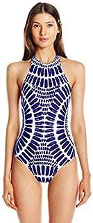 Trina Turk Women's Algiers High Neck One Piece Swimsuit Indigo/Indigo 12 [並行輸入品]