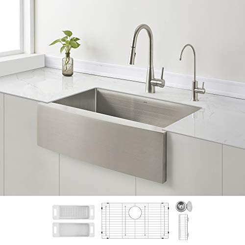 ZUHNE Curved Apron Front Stainless Steel Farmhouse Sink