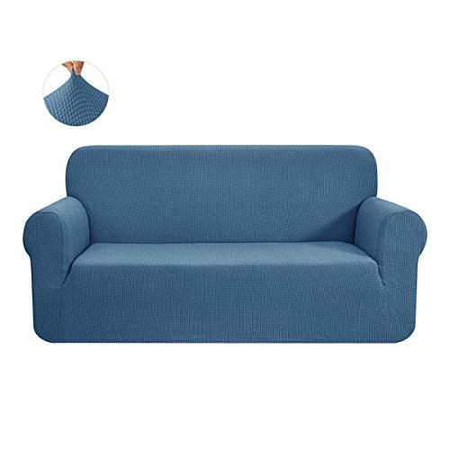 CHUN YI 1-Stück Sofa Überwürfe Sofabezug Jacquard Elastische Stretch Spandex Couchbezug Sofahusse Sofa Abdeckung (Denim Blue, 3-sitzer)