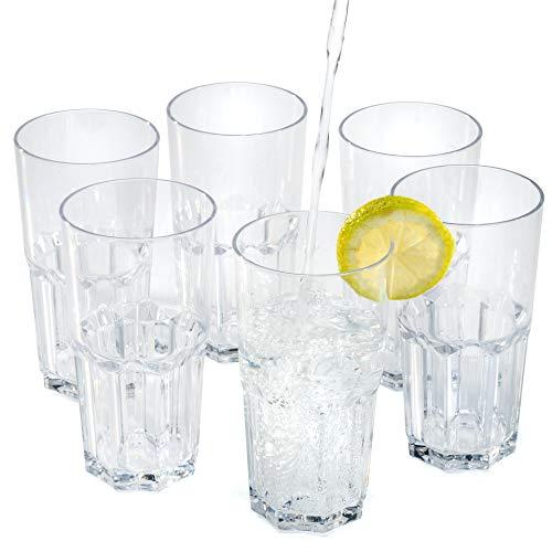 Vasos de agua zumo plástico duro reutilizables policarbonato cristal copas irrompibles 35...